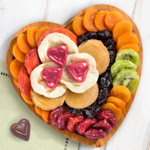 Dried Fruit on Heart Bamboo Serving Tray